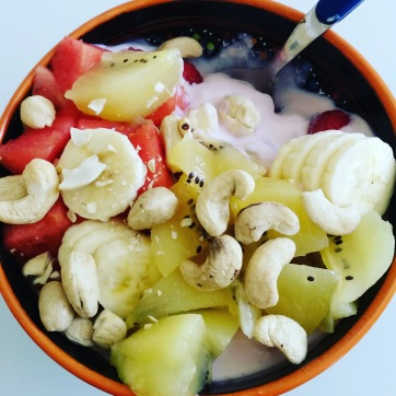 Soy yogurt with fruit and cashews
